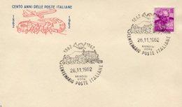Busta 100 ANNI DELLE POSTE ITALIANE, Francobollo 15 Lire, 26/11/1962, Bollo BRINDISI ROMA - PERFETTA AM-V-2 - 1961-70: Marcophilie