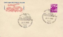 Busta 100 ANNI DELLE POSTE ITALIANE, Francobollo 15 Lire, 26/11/1962, Bollo MUGGIA ROMA - PERFETTA AM-V-2 - 1961-70: Marcophilie