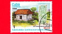 CUBA - Nuovo Obl. - 1986 - Storia Latino Americana - Cultura Precolombiana - Belize, Casa Maya E Statua Di Giada - 1 - Cuba
