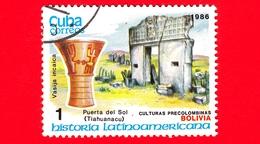CUBA - Nuovo Obl. - 1986 - Storia Latino Americana - Cultura Precolombiana - Bolivia, Vaso Inca E Porta Del Sole, Tiahua - Cuba