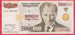 Turquie 5000000 Lirasi 1997 Dans L 'état (7) - Turquie