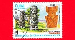 CUBA - Nuovo Obl. - 1986 - Storia - Colombia, Parco Archeologico, Statua Di San Augustin E Quimbayan - 1 - Cuba