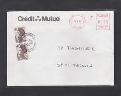 LETTRE DE VOLMERANGE-LES-MINES,AVEC TIMBRES ET E.M.A. POUR THIONVILLE. - France