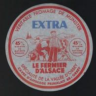"""étiquette Fromage  Munster Extra Le Fermier D'Alsace Vallée D'orbey 68 """"fermier Vache"""" - Kaas"""