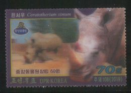 NORTH KOREA 2019 WHITE RHINOCEROS 3D STAMP - Rhinoceros