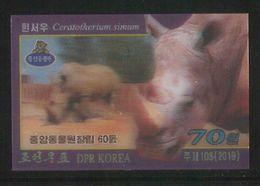 NORTH KOREA 2019 WHITE RHINOCEROS 3D STAMP IMPERFORATED - Rhinoceros