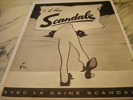ANCIENNE  PUBLICITE LE BAS  SCANDALE 1952 - Habits & Linge D'époque