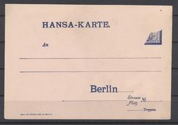 Deutsche Stadtpost, Ungebrauchte Hansa Karte Unvollständiger Eindruck (25999) - Private