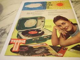 ANCIENNE  PUBLICITE TOUT L ETE AVEC  ELECTROPHONE  DE TEPPAZ 1958 - Music & Instruments