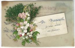 Carte En Celluloid - 37 - De Francueil Je Vous Envoie Ces Fleurs - Plastique Collage Fleurs - Cartes Postales
