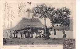 ILES SOUS LE VENT CPA Habitation Lacustre à RAIATEA Voyagé 1904 Oblitéré TAHITI  Dos Simple - French Polynesia