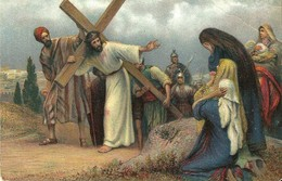 """4156 """"KREUZWEG JESUS BEGEGNET DEN WEINENDEN FRAUEN - OPERA DI R. LEINWEBER"""" CARTOLINA POST. ORIG. NON SPEDITA - Pittura & Quadri"""