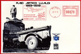60° RAID ARTICO CON ALFA ROMEO - SPECIMEN EMA METER FREISTEMPEL AFFRANCATURA ROSSA - Autos