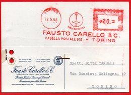 1958 FARI AUTO CARELLO - EMA METER FREISTEMPEL AFFRANCATURA ROSSA - Poststempel - Freistempel