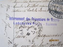 Cachet Internement Des Prisonniers De Guerre Loeche Les Bains  19 Meg - Marcophilie