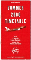 Aviation. Virgin Express. Timetable Summer 2000. Horaire. - Timetables