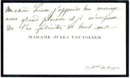 Carte Visite écrite. Madame Jules Van Volxem. Bld. Du Régent. Bruxelles. - Cartes De Visite