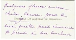 Carte Visite. Gabrielle Du Monceau De Bergendal Avec Autographe - Cartes De Visite