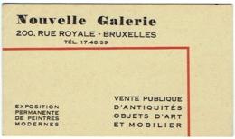 Carte Visite Publicité. Vente Publique. Antiquités. Nouvelle Galerie, Rue Royale, Bruxelles. - Cartes De Visite