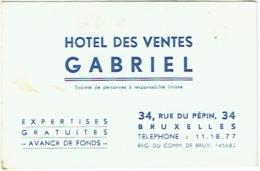 Carte Visite Publicité. Hôtel Des Ventes Gabriel. Rue Du Pépin,Bruxelles. 1944. - Cartes De Visite