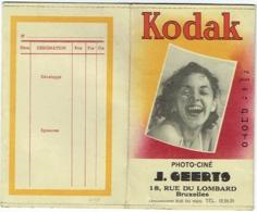Foto/Photo. Pochette Kodak. Photo-Ciné J.Geerts. Rue Des Lombards, Bruxelles. - Matériel & Accessoires