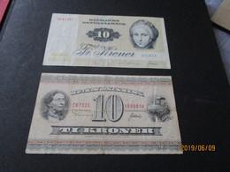2 Billets Banknotes  DANEMARK 10 KRONEN - Danemark