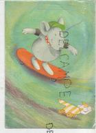 Chaton à Roulette Fait La Course Avec Une Souris En Skate Board. - Chats