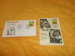 ENVELOPPE + CARTE POSTALE 1ER JOUR DE 1999. / JOURNEE DU TIMBRE ORLEANS...ASTERIX..CACHETS + TIMBRE - FDC