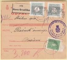 Croatia NDH 1943 / Nova Gradiska - Okucani / Paket - Paketkarte, Package Card, Odpremnica / WW2 - Croatie