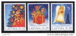 LATVIA 2002 Christmas Set Of 3 MNH / **.  Michel 580-82 - Lettonie