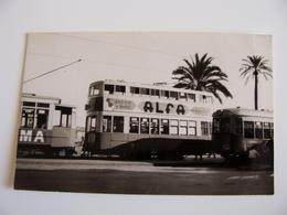 1957 TRAMWAY TRAM 2 PIANI  ESPAGNE - BARCELLONA   FORMATO PICCOLO FOTOGRAFICA  LEGGERE TRACCE DI COLLA SUL RETRO - Autobus & Pullman