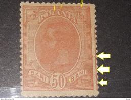 Error Romania 1918 King Charles I, 50b SPIC DE GRAU, WITHOUT LINE FRAME   Right,  Mnh - 1881-1918: Charles I