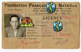 RARE CARTE Identité Photo FFN Fédération NATATION Française LICENCE CADET 1941 Ww2 LYON Avec Timbre Coq 39-45 - Historical Documents