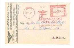 AFFRANCATURA MECCANICA- LE ASSICURAZIONI D' ITALIA – 1960 (15/33) - Affrancature Meccaniche Rosse (EMA)