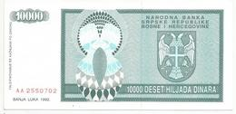 Bosnia And Herzegovina 10.000 Dinara 1992. P-139 - Bosnia Erzegovina