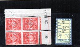 FM. N°12** Bloc De 4 Coin Daté - Franchise Militaire (timbres)