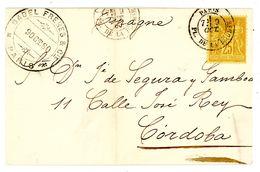 Nr. 76 EF 1880 Nach Cordiba - 1876-1898 Sage (Type II)