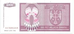 Bosnia And Herzegovina 5000 Dinara 1992. P-138  UNC - Bosnia Erzegovina