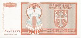 Bosnia And Herzegovina 1.000.000.000 Dinara 1993. AUNC P-147 - Bosnië En Herzegovina