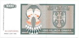 Bosnia And Herzegovina 1000 Dinara 1992.  P-137 - Bosnia Erzegovina