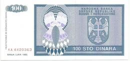 Bosnia And Herzegovina 100 Dinara 1993. UNC P-135 - Bosnia Erzegovina