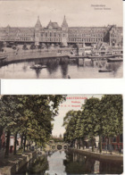 2769236Amsterdam, Centraal Station 1918 – O.Z.v. Burgwal Stadhuis 1908 (2 Kaarten (zie Hoeken) - Amsterdam