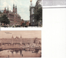 2769239Amsterdam, Rijkspostkantoor 1908 – Centraal Station 1917 (2 Kaarten) (zie Hoeken) - Amsterdam