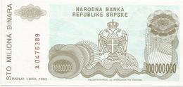 Bosnia And Herzegovina 100.000.000  Dinara 1993. P-154 UNC - Bosnië En Herzegovina