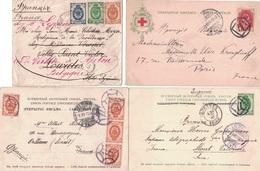 RUSSIE - ENSEMBLE DE 4 DOCUMENTS - AFFRANCHISSEMENT TRICOLORE POUR LA FRANCE PUIS LA BELGIQUE - 3 CARTES AVEC BEL AFFRAN - 1857-1916 Empire