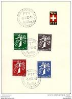 """38-28 - Feuillet Avec Série Expo Nationale 1939 En Français - Oblit Spéciale """"PTT Pavillon"""" Zürich - Marcofilie"""