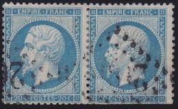 N°22 Paire Position 143D3 144D3, Pas Facile De La Positionner, Dents Courtes Sur Un Timbre - 1862 Napoléon III