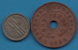 SOUTHERN RHODESIA LOT 2 COINS : 1 PENNY 1950 + 3 PENCE 1947 George VI - Rhodésie