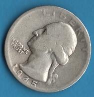 USA ¼ Dollar 1945 S Washington Quarter Argent Silver  900‰ - 1932-1998: Washington