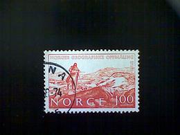 Norway (Norge), Scott #629, Used (o), 1973, Geographical Survey, 1k, Red Orange - Norway